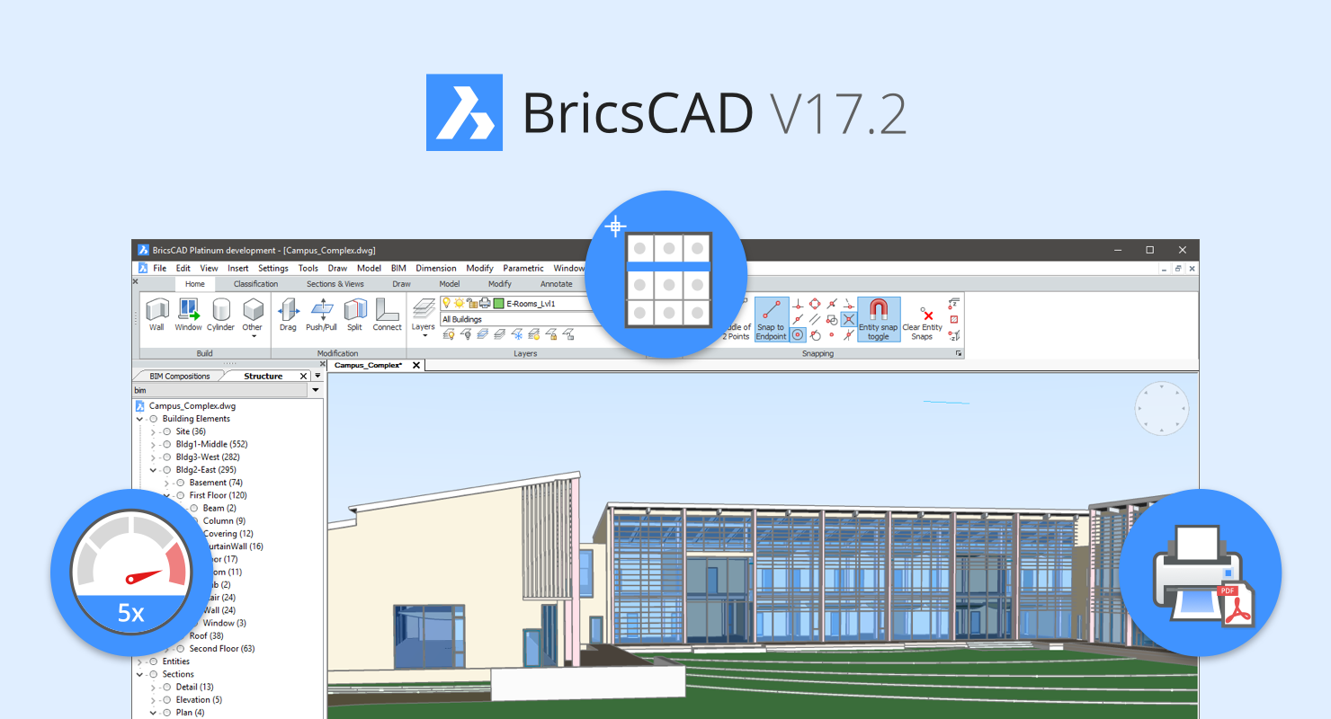 BricsCAD V17.2: up to 5x speed increase, faster command access and new workflows!