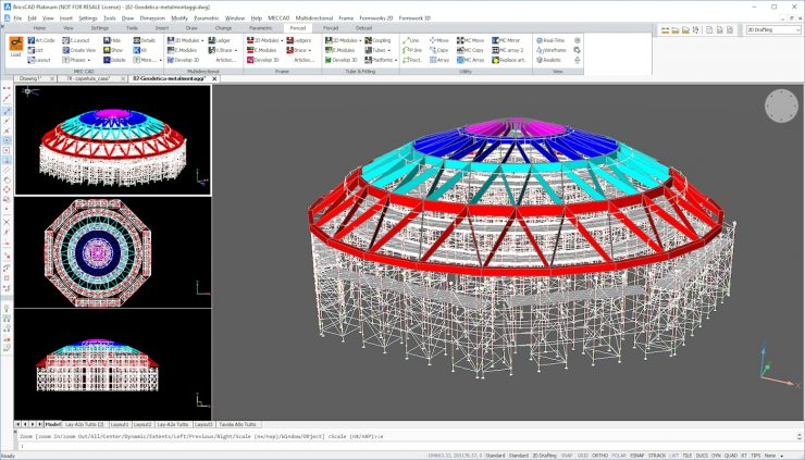 PON CAD scaffolding design software, running in BricsCAD