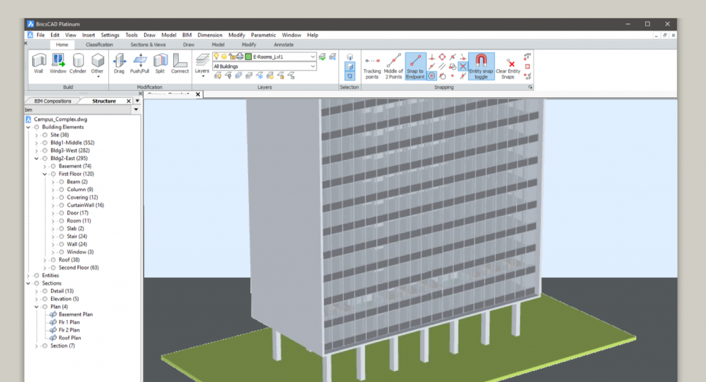 UCO tower Gent in BricsCAD BIM