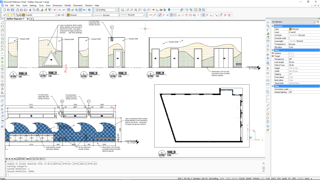 BricsCAD 2D Drafting workspace