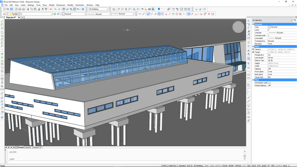 BricsCAD 3D Modeling workspace