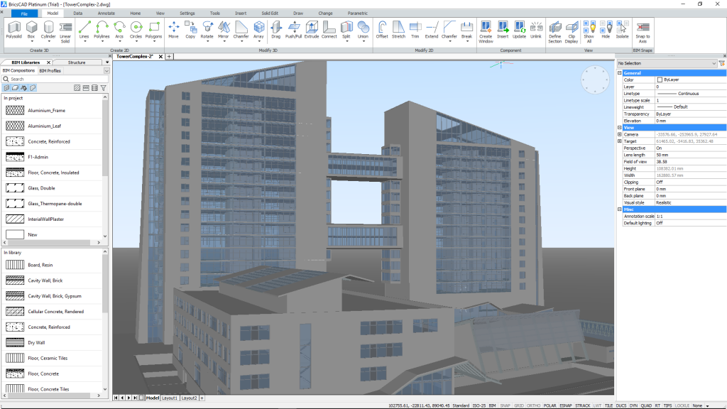 BricsCAD BIM workspace