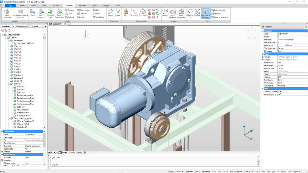 BricsCAD Mechanical workspace