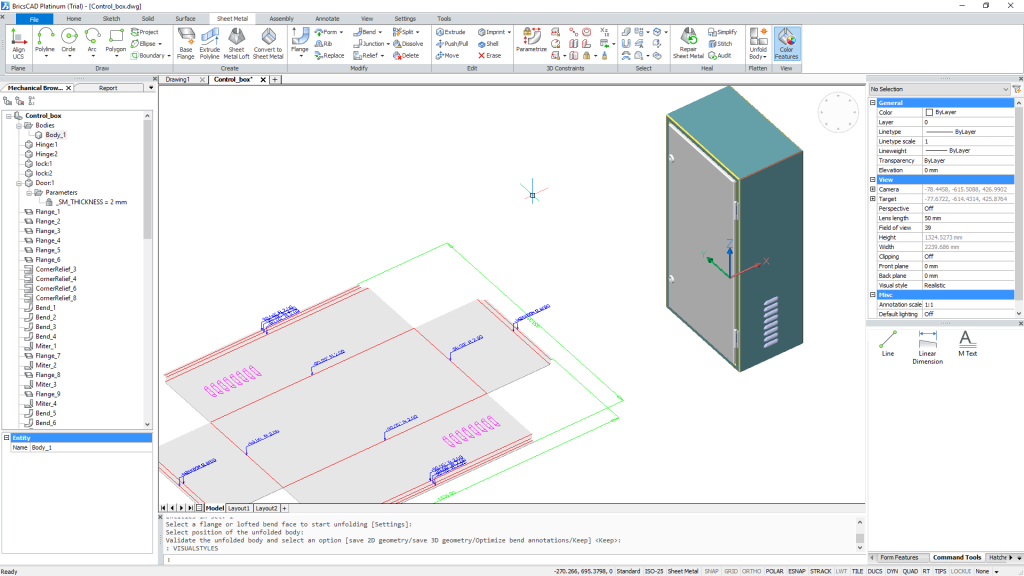 BricsCAD Sheet Metal workspace