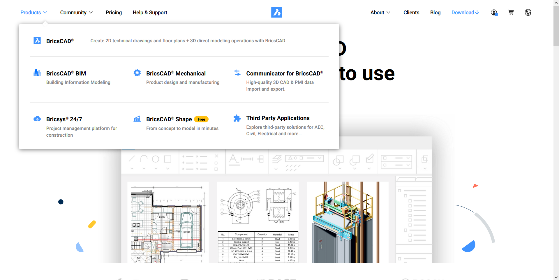 BricsCAD homepage with product options displayed