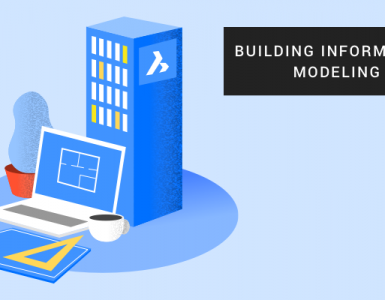Illustration of buildings and computers for Building Information Modeling