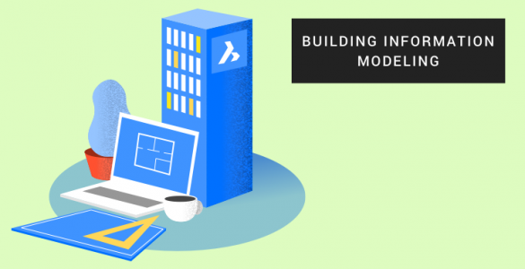 An illustration of a designed building and computer for 3D BIM
