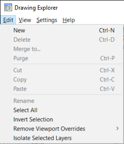 Drawing Explorer - Edit menu