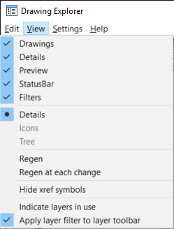 Drawing Explorer - View menu