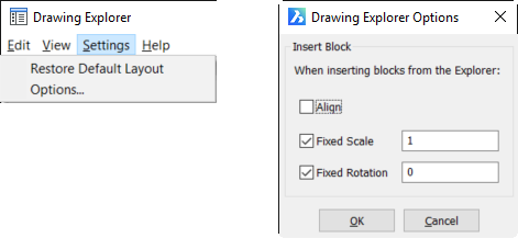 Drawing Explorer - Settings menu