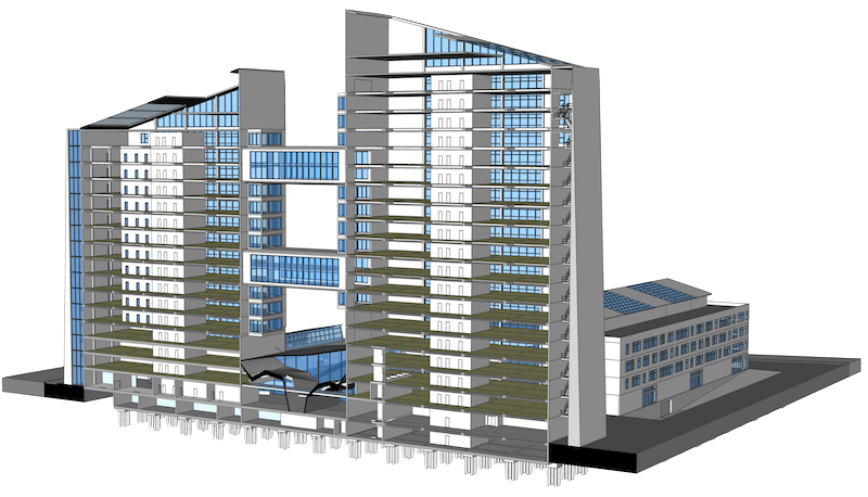 A building design using BIM technology