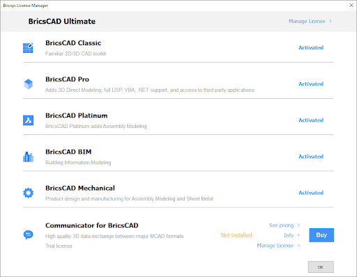 active licenses in BricsCAD