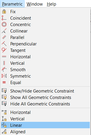 Linear dimensional constraint tool
