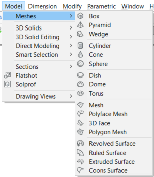 BricsCAD Meshes menu