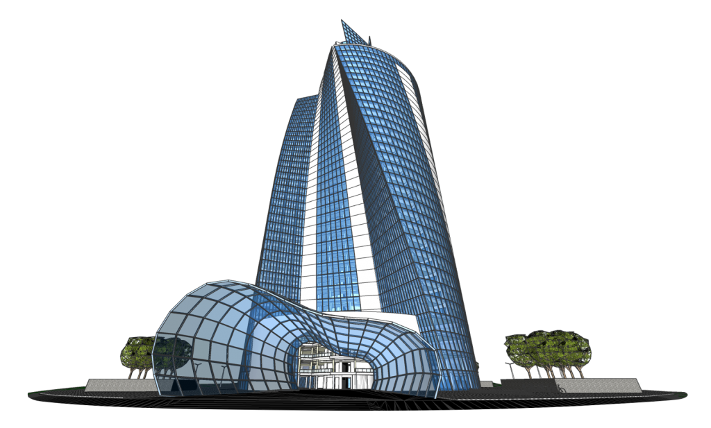 A 3D model of a twisted tower build in Bricscad BIM