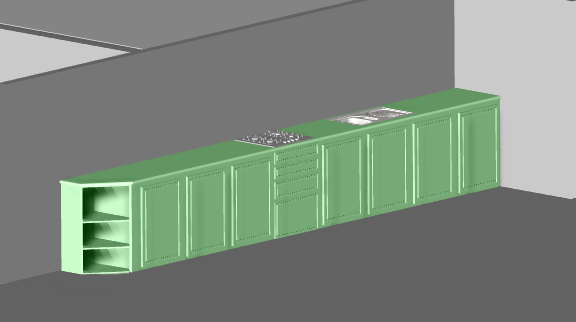 cad drawing make a kitchen in bricsCAD