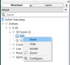 show object cad structure browser