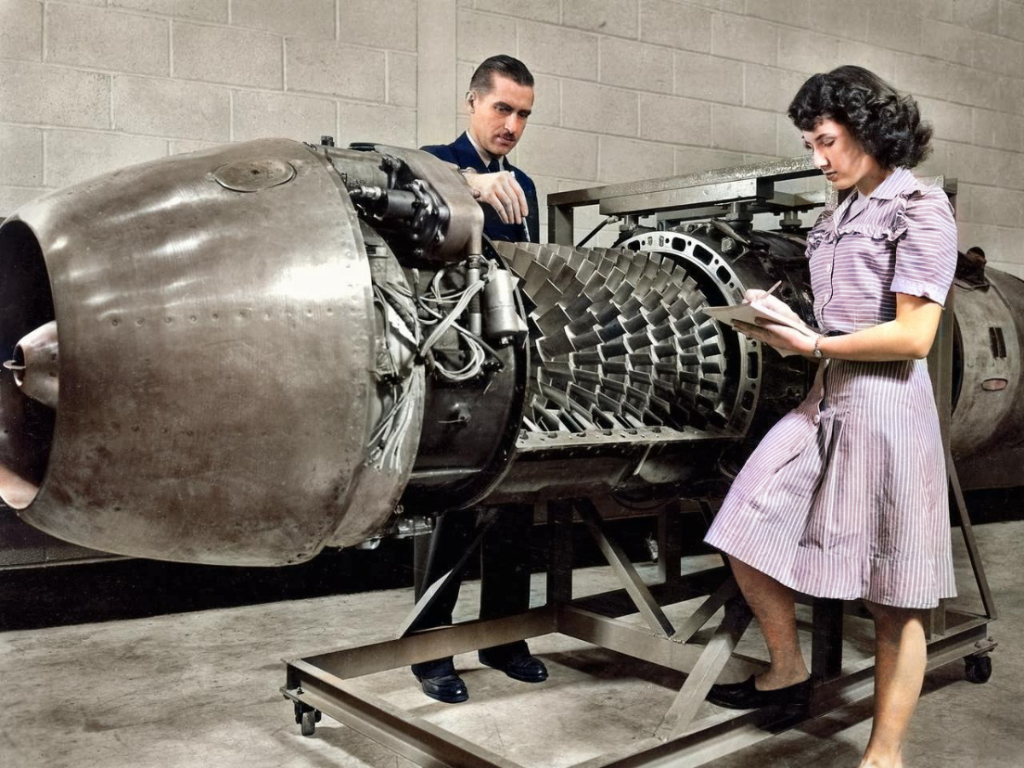 junkers jumo 004 1900s WWII photography in color photos in colour engineering history NASA engine