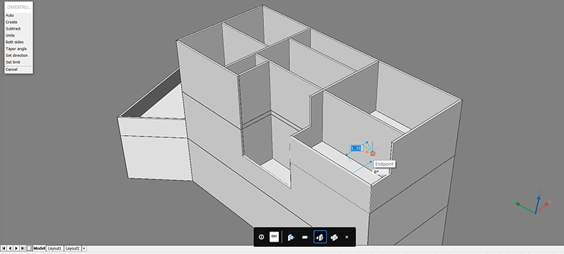 bim project extrude surface remove matterial, create half heigh wall