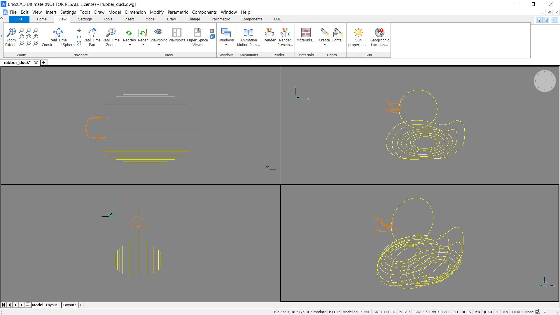 wireframe how to make a rubber duck in CAD rhino BricsCAD