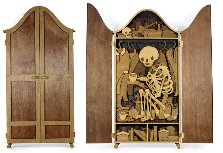 skelleton inside a closet wood laser cut