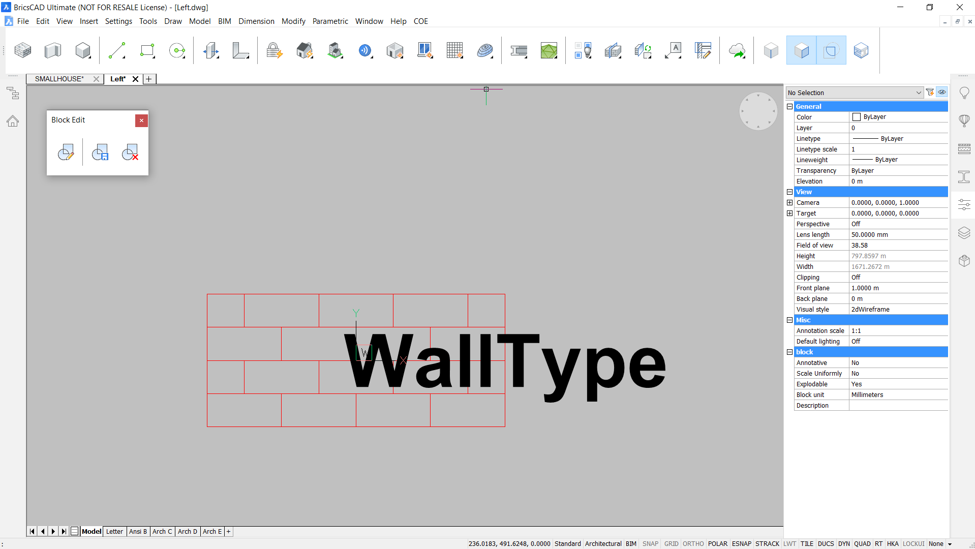 editing the BIMtag in BricsCAD Block editor.