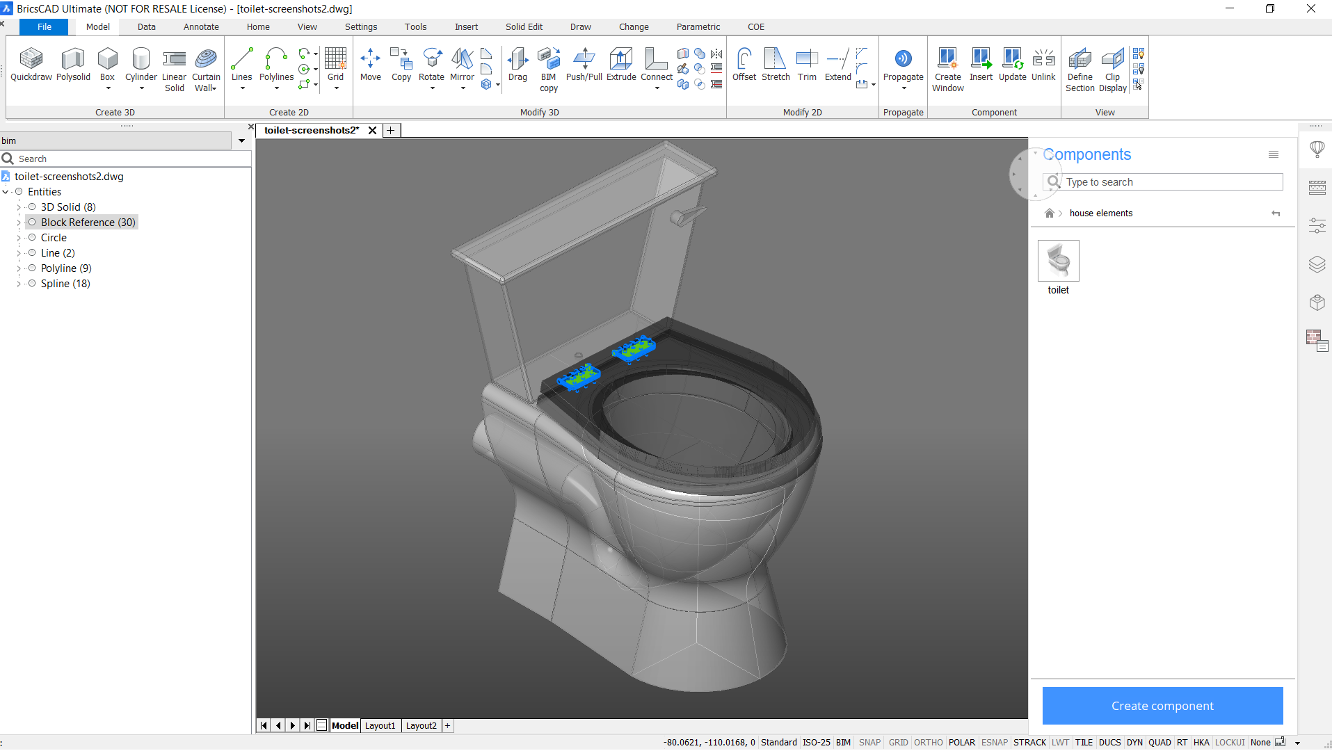 create CAD components with BricsCAD