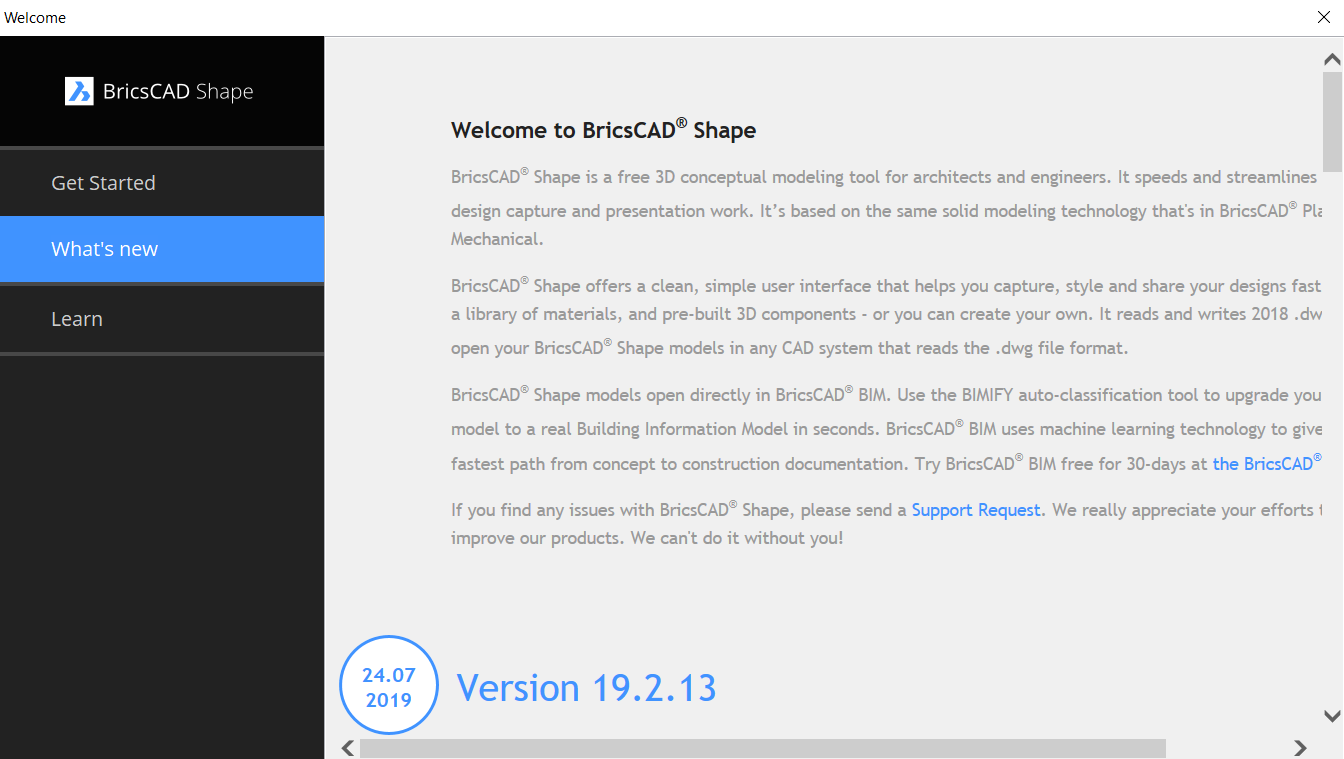 release notes for BricsCAD Shape