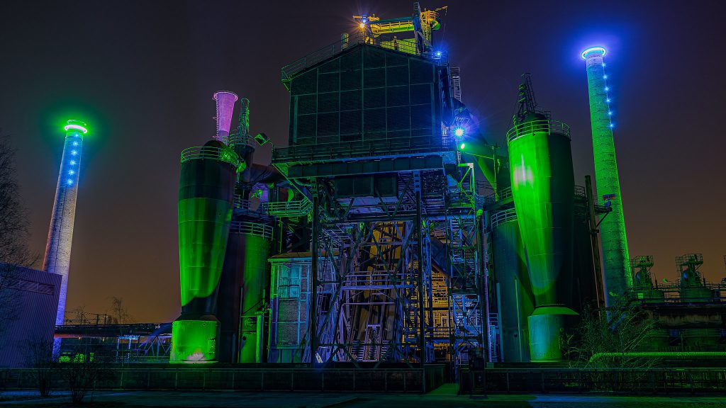 Landschaftspark transforms at night with lights.