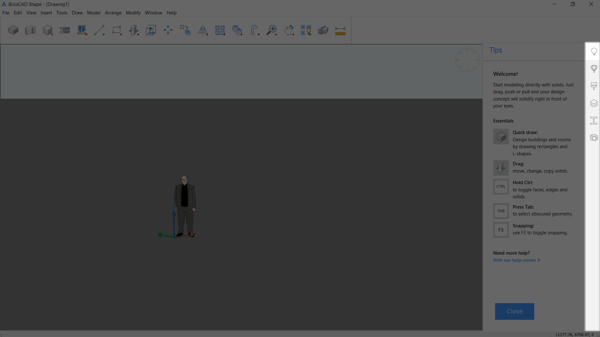BricsCAD Shape user interface
