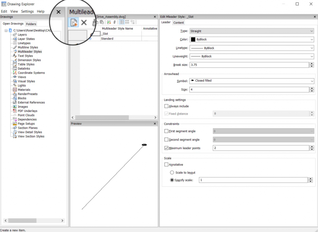 create new custom leader line style in BricsCAD