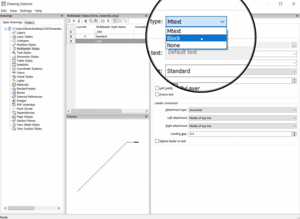 custom balloon style for leader lines in BricsCAD