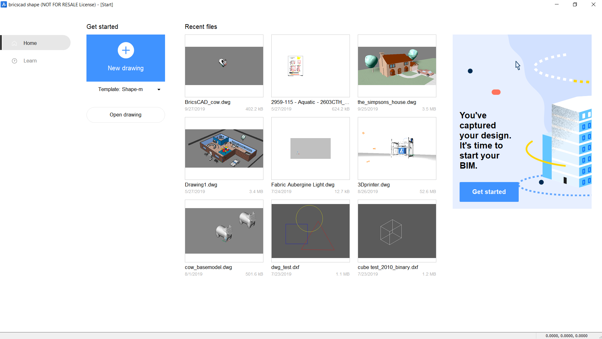 BricsCAD Shape Get started page