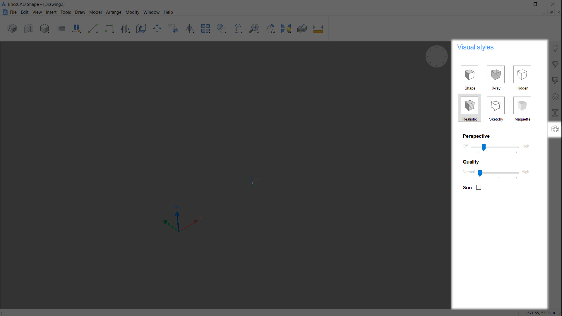 location of BricsCAD Shape view styles