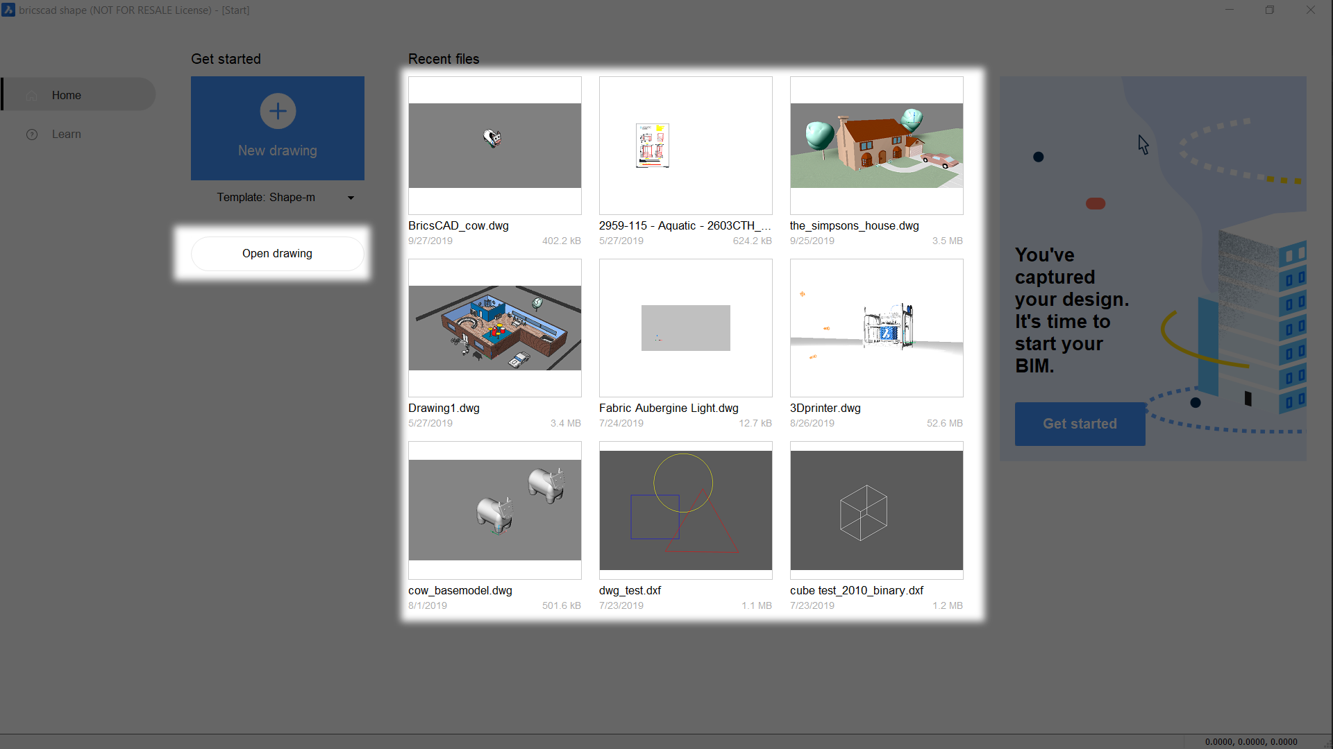 open an existing drawing bricsCAD Shape getting started