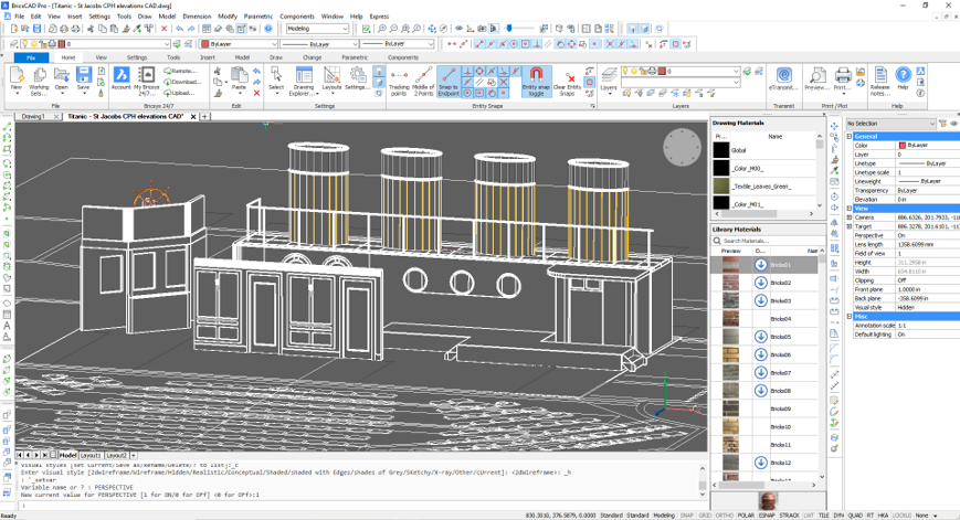 BricsCAD set design CAD stage theater titanic