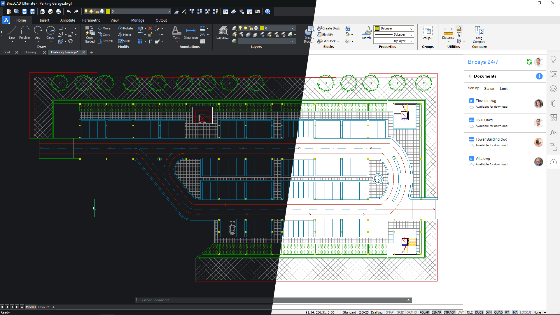 dark and light user interface BricsCAD V20