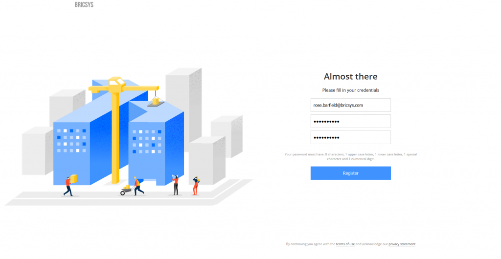 create an account with bricsys