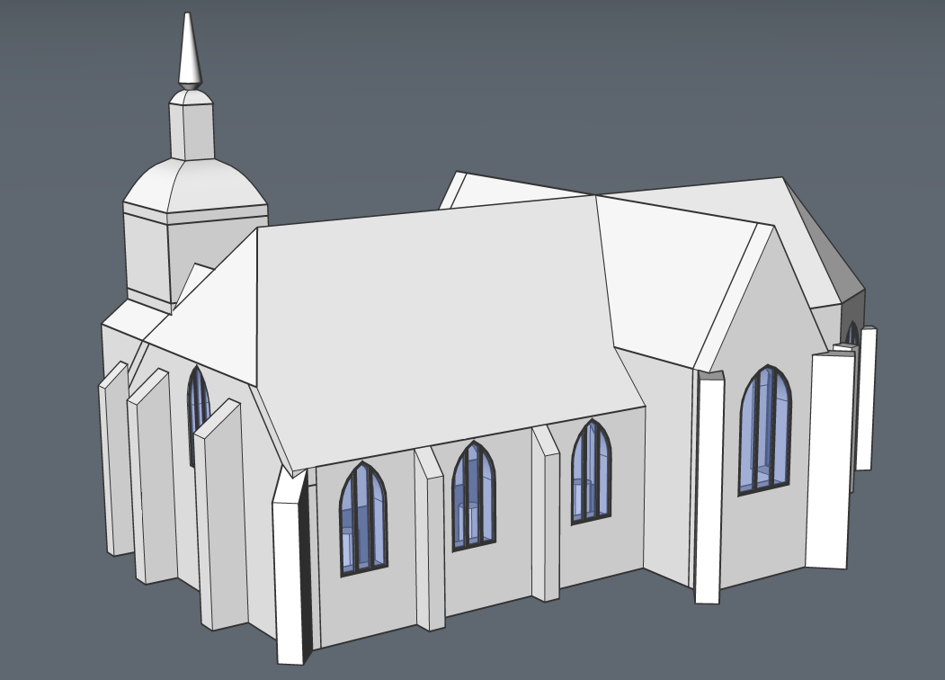 CAD chuirch model in BRicsCAD with point cloud