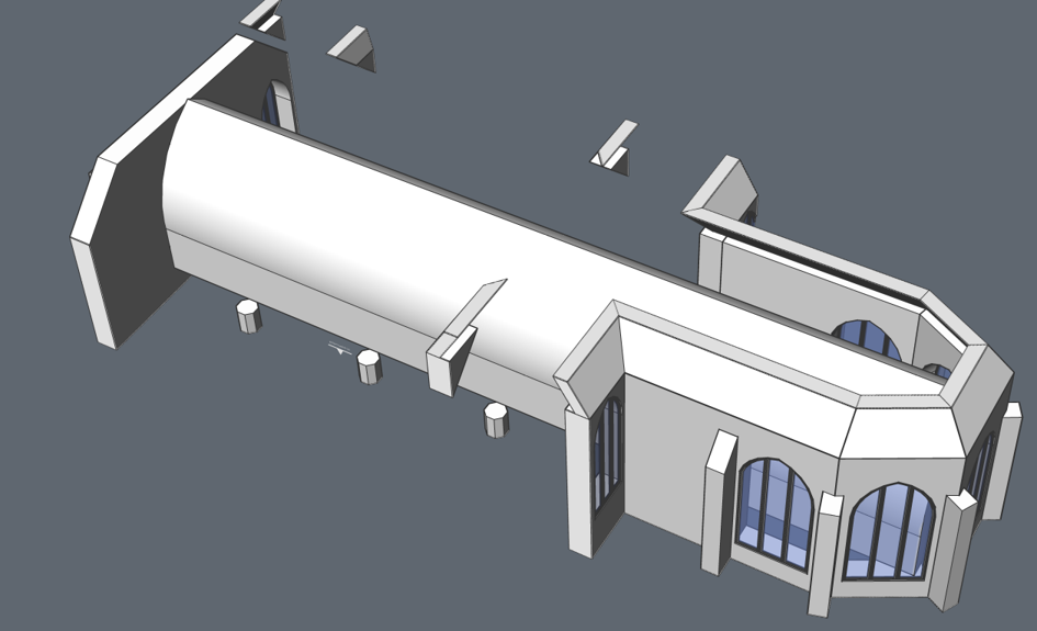 modeling the arhces of a church in BricsCAD
