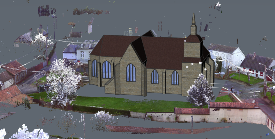 3D model of a church in CAD from a point cloud