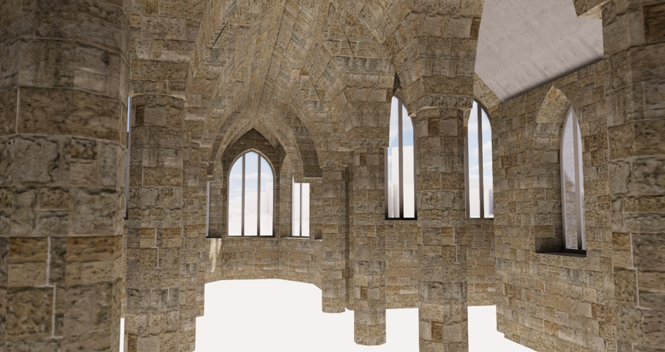 arches of church 3D modeled using point cloud