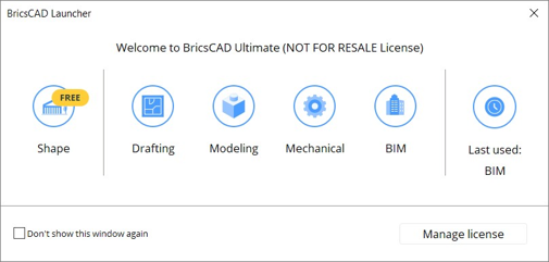 BricsCAD launcher