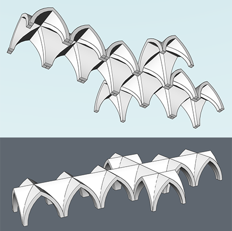 celling of church arches in CAD BIM model lesson how to
