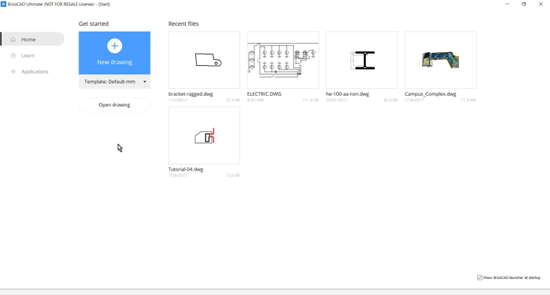 start page new drawing BricsCAD