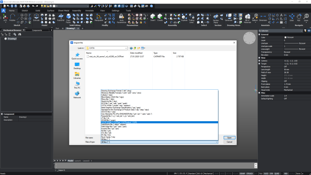 import file types wth bricscad communicator catia