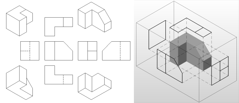 Orthographic Drawing american style projection
