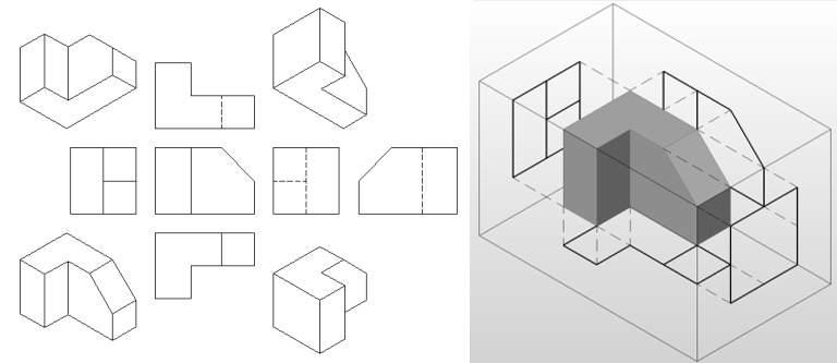 Orthographic Drawing european style projection
