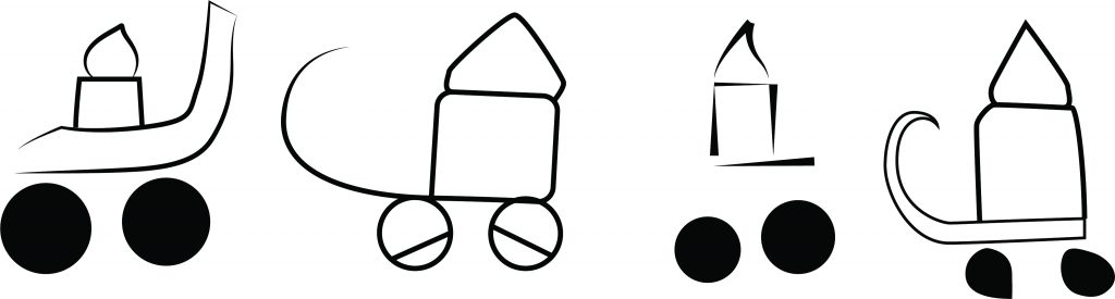 the first dipictions of wheeled vehicles