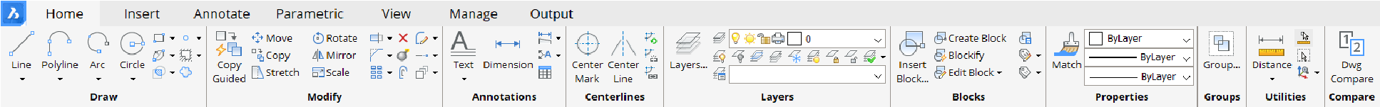 the ribbon in BricsCAD